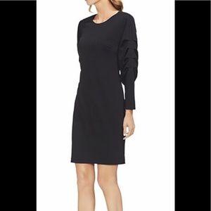 Ruched-sleeve sheath dress